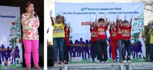 Sec. Soliman enjoins all sectors to join hands to fight child sexual abuse and commercial sexual exploitation during the culminating activity of the 18th National Awareness Week for the Prevention of Child Sexual Abuse and Commercial Sexual Exploitation held at the Quezon Memorial Circle on February 15. (Right) Child performers dramatize the plight of sexually abused and exploited children.