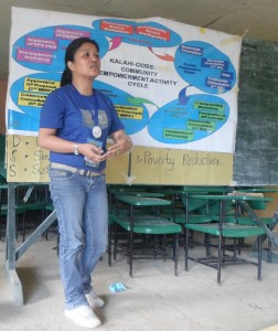 Kalahi CIDSS-NCDDP volunteer Vanessa M. Diez actively participates during the CEAC (Community Empowerment Activity Cycle) orientation in her community.