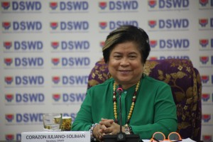 DSWD Sec. Soliman beams as she interacts with members of media during her last press briefing this afternoon where she disccussed the various milestones achieved by the Department during the Aquino Administration.  She thanked the media for their support to her  six years of leadership at the Department.