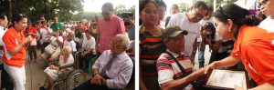 DSWD Sec. Virginia Orogo greets centenarians Jose Lino Arguelles, Lolita Abasolo Ramos, Ambos Sola Man, during the National Respect for Centenarians Day as part of the Elderly Filipino Week celebration at the Quezon Memorial Circle.