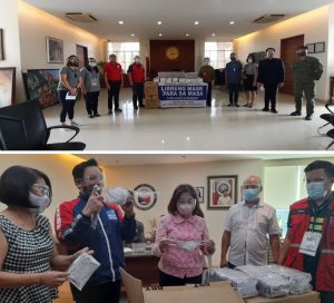 """Photo 1: Department of Social Welfare and Development Undersecretary Rene Glen Paje (4th, left row), together with members of the Task Group Face Mask, hands over boxes of reusable face masks to Rizal Provincial Governor Rebecca """"Nini"""" Alcantara Ynares. Photo 2: Pasay City Mayor Imelda """"Emi"""" Calixto-Rubiano (middle),  Department of Trade and Industry (DTI) Assistant Secretary Dominic Tolentino (second from left), and other officials inspect the free cloth face mask during the """"Libreng Mask Para sa Masa"""" turn over."""