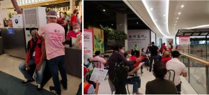 A DSWD personnel volunteers to get inoculated of COVID-19 vaccine during the ceremonial vaccination of essential workers and economic frontliners listed under the A4 category at the SM Mall of Asia in Pasay City on June 7. (photos from DSWD-NRLMB)